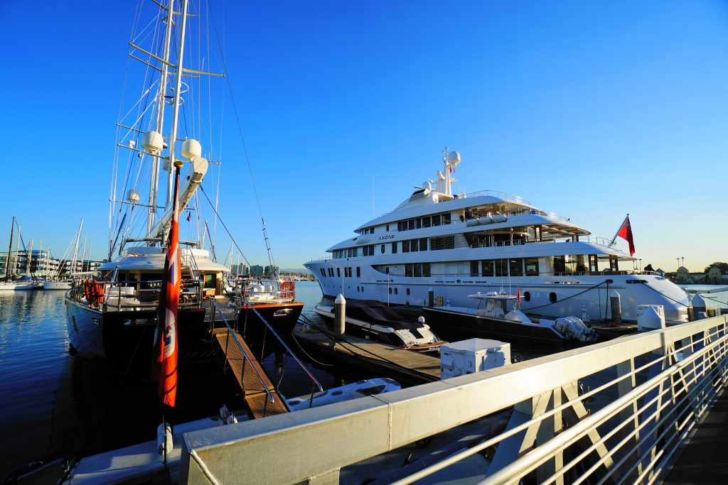 Invictus mega yacht and her sailboat friend are in Marina del Rey