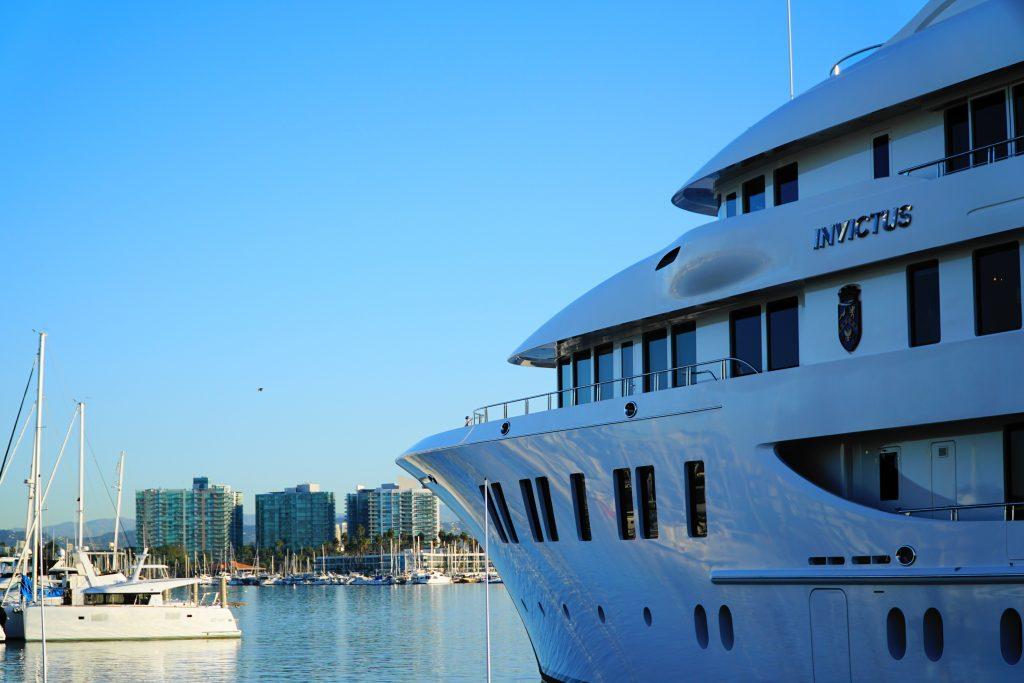 Invictus mega yacht in Marina del Rey
