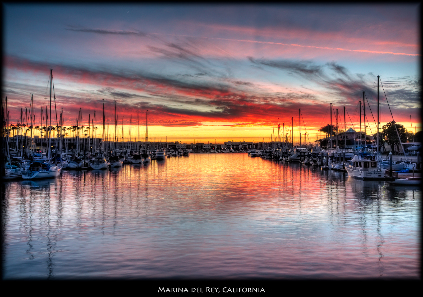 Marina del Rey sunset shot from one of tham main canals.